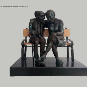 Loving old couple, Clay Tales studio, by Amos Redlich